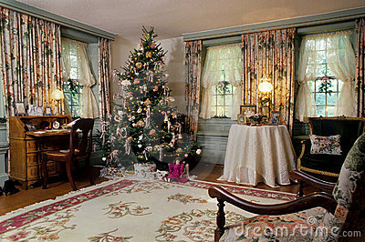 Christmas Victorian living room