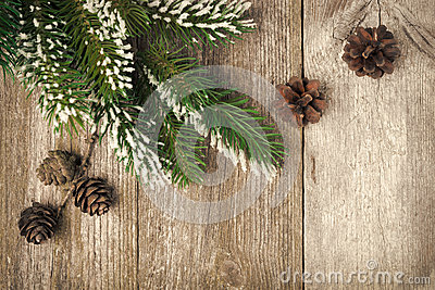 Christmas vintage  background (with fir branches and cones)