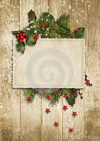 Free Christmas Vintage Card With Holly,firtree Royalty Free Stock Photos - 62059958