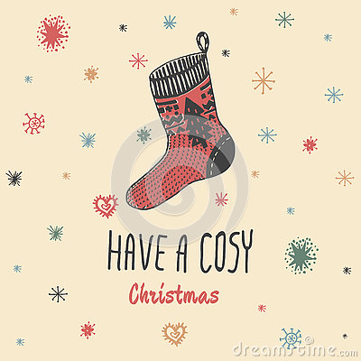 Free Christmas Vintage Card With With Hand Drawn Knitted Sock And Text  Have A Cosy Christmas  Stock Image - 73484451