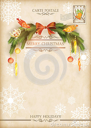Free Christmas Vintage Holiday Vector Postcard Stock Photography - 35534172