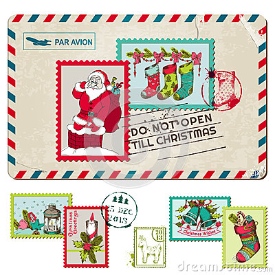 Christmas Vintage Postcard with Stamps