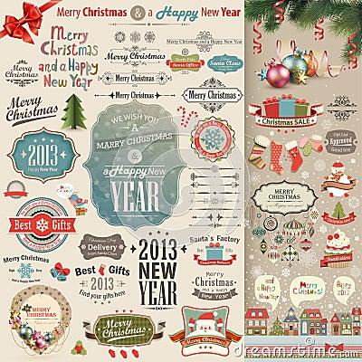 Free Christmas Vintage Scrapbook Set Royalty Free Stock Photo - 27716065