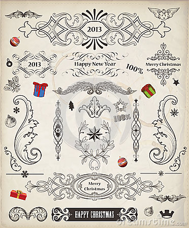 Christmas Vintage Vector Pack of decorative elemen