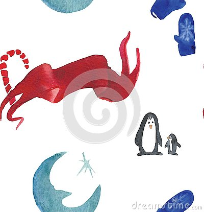 Christmas Watercolor beautiful seamless pattern with penguins, candy, moon and mittens Stock Photo