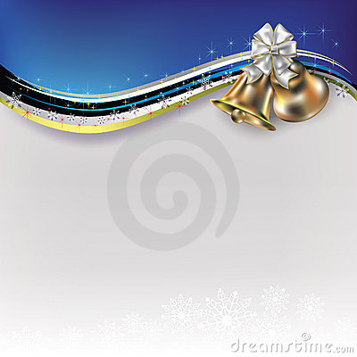 Free Christmas White Greeting With Bells And Bow Stock Images - 21060314