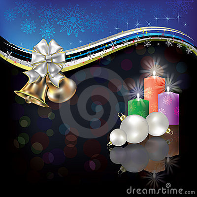 Free Christmas White Greeting With Bells And Bow Stock Image - 21214561