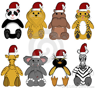 Christmas Wildlife Zoo Animals on White Background