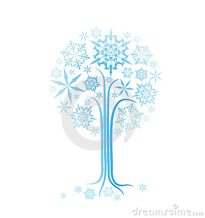 Christmas winter abstract tree