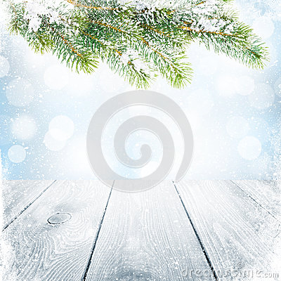 Free Christmas Winter Background With Snow Fir Tree Stock Photography - 47067192