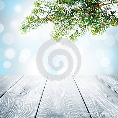 Free Christmas Winter Background With Snow Fir Tree And Wooden Table Royalty Free Stock Image - 45793826