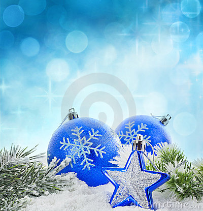 Christmas winter blue baubles card
