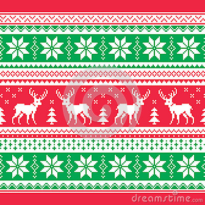Red and green Xmas seamless background with reindeer - nordic style.