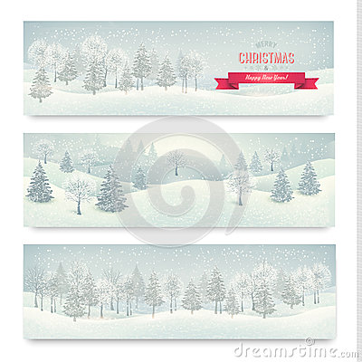 Christmas winter landscape banners