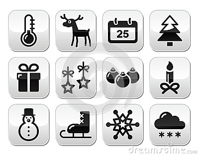 Christmas, winter red and green snowflakes  icons set