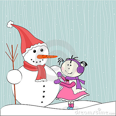 Christmas winter snowman and little girl