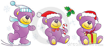Christmas, winter Teddy bears with skates, candy,