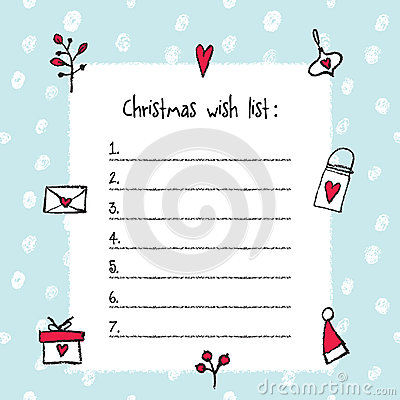 Christmas Wish List Template Vector Image 78478348 – Christmas Wish List Templates