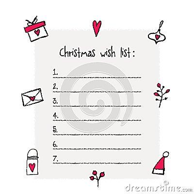 Christmas Wish List Template Vector Image 78478348 – Printable Wish List Template