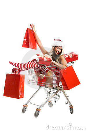 Free Christmas Woman At Shopping Stock Photography - 6969252