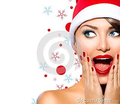 Christmas woman beauty model girl in santa hat