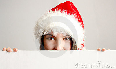 Christmas woman behind a blankboard