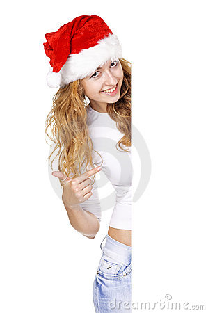 Christmas woman with Blank sign