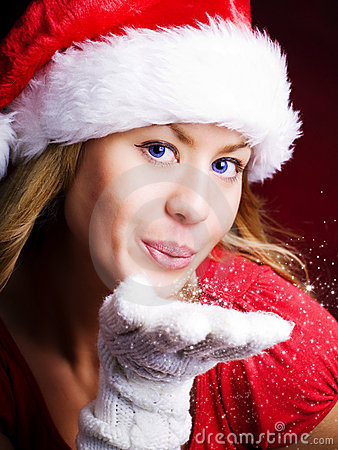Free Christmas Woman Blowing Starlight Dust Royalty Free Stock Photos - 12128518