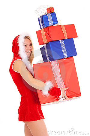 Christmas woman carrying gift pile