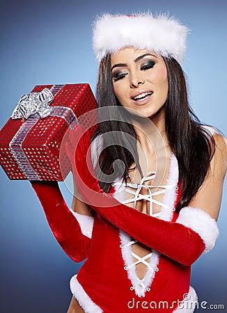 Christmas woman with gift,