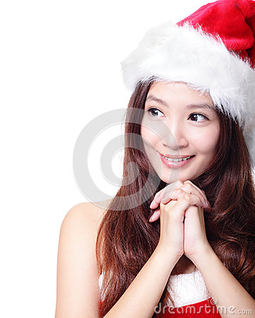 Christmas Woman happy look to empty copy space