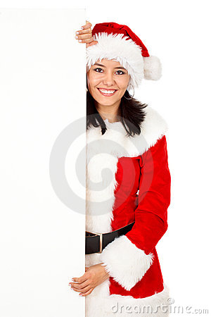 Christmas woman holding an add