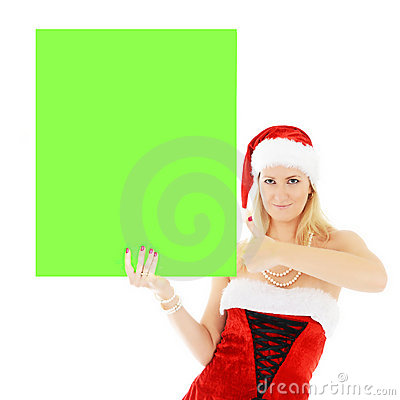Christmas woman holding green blank banner