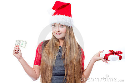 Christmas woman holding one dollar and gift box