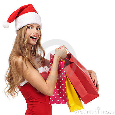 Christmas woman holding a shopping bags