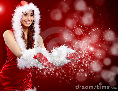 Christmas woman holding star