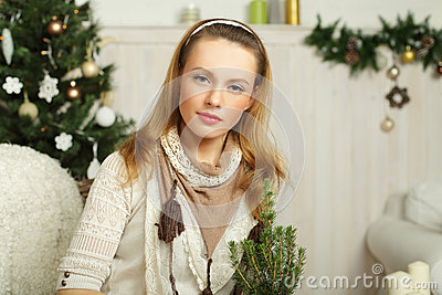 Christmas woman, holiday