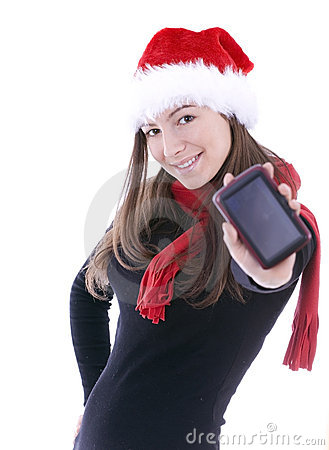 Christmas  woman keeping satellite navigation