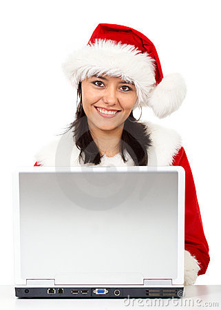 Christmas woman on a laptop