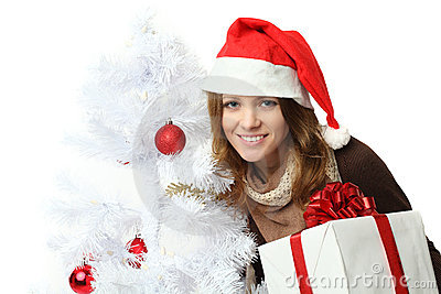Christmas - woman in santa hat