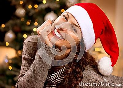 Christmas Woman in Santa Hat
