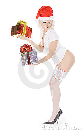 Christmas woman in santa hat and white stockings
