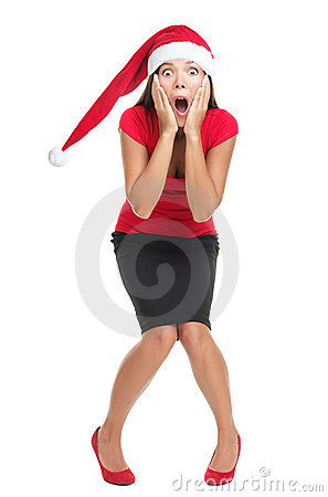 Free Christmas Woman Shocked Royalty Free Stock Photos - 16003908