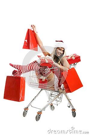 Christmas woman at shopping