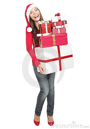 Christmas woman shopping gifts - isolated