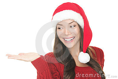 Christmas woman showing your product