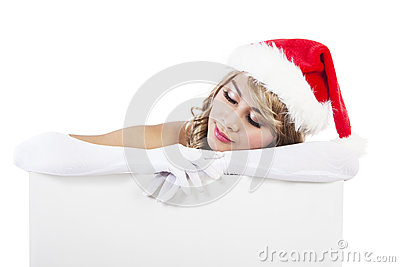 Christmas woman with sign banner