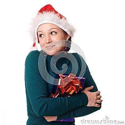 Christmas woman smiling.