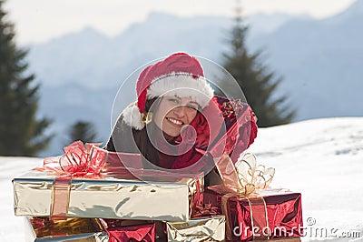 Christmas woman on the snow