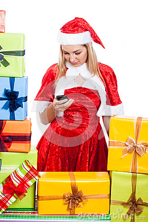 Christmas woman texting message